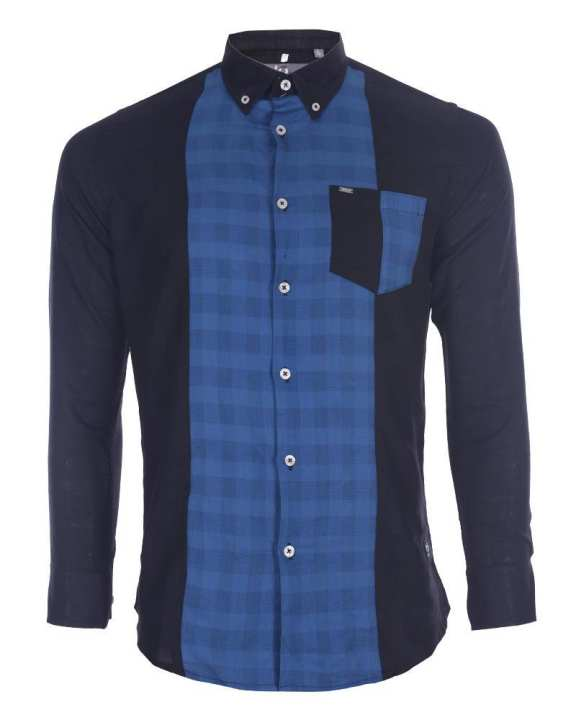 Cotton Casual Long Sleeve Shirt - Black and Blue