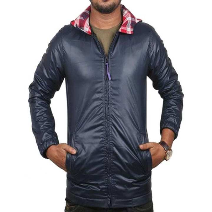 Navy Blue Synthetic Hoodie Jacket for Men