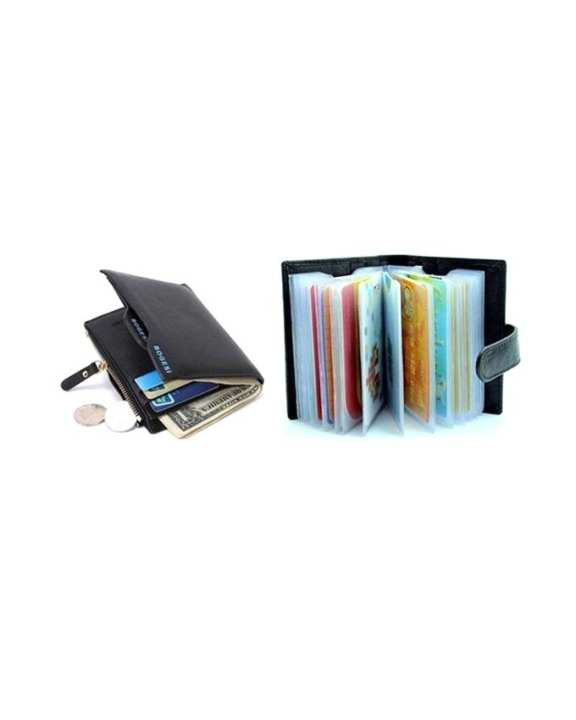 Leather Black Wallet and Business Card Holder for Men