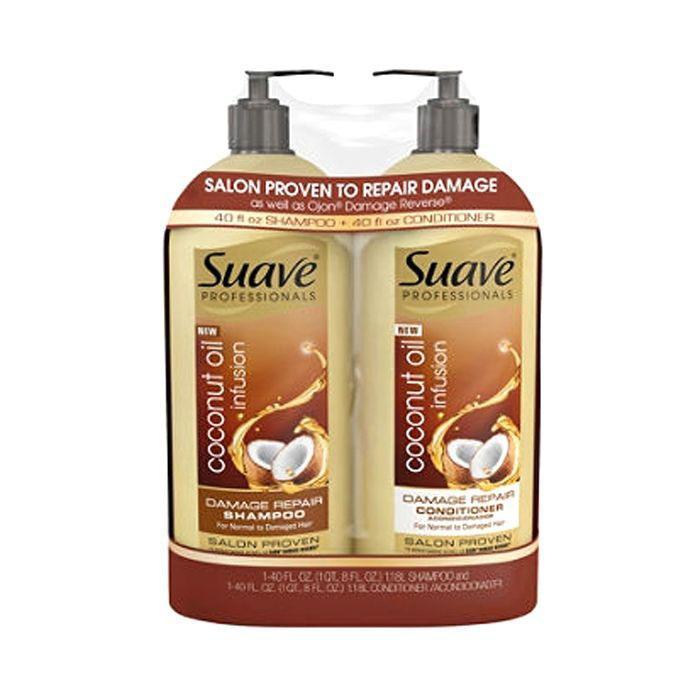 Suave Professionals Damage Repair Shampoo and Conditioner - 1.18 Liter