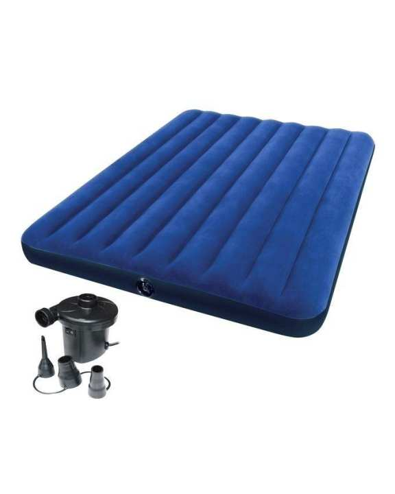 Queen Classic Downy Inflatable Air Bed Mattress With Pumper - Blue