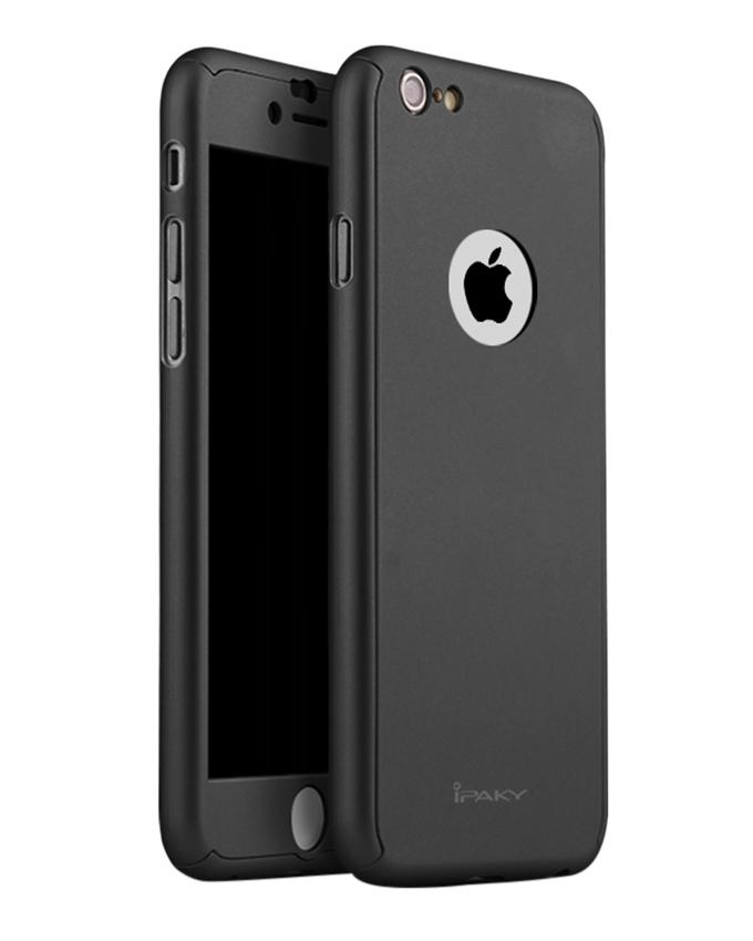 360 Full Protection Cover with Tempered Glass for iPhone 6/6s Plus - Black