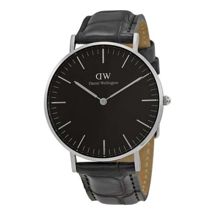 WD02 Leather Analog Watch For Men - Black