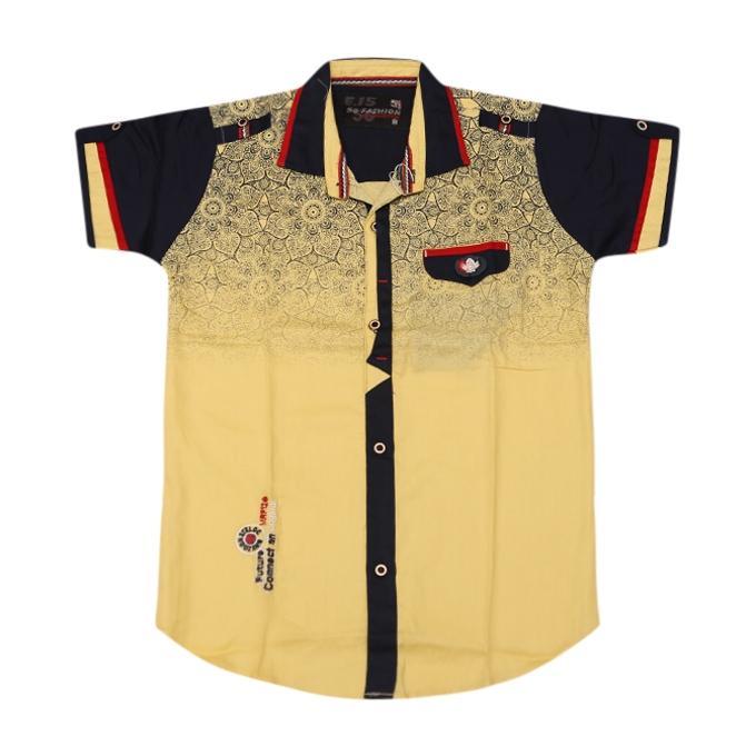 Khaki and Black Cotton Casual Short Sleeve Shirt For Boys
