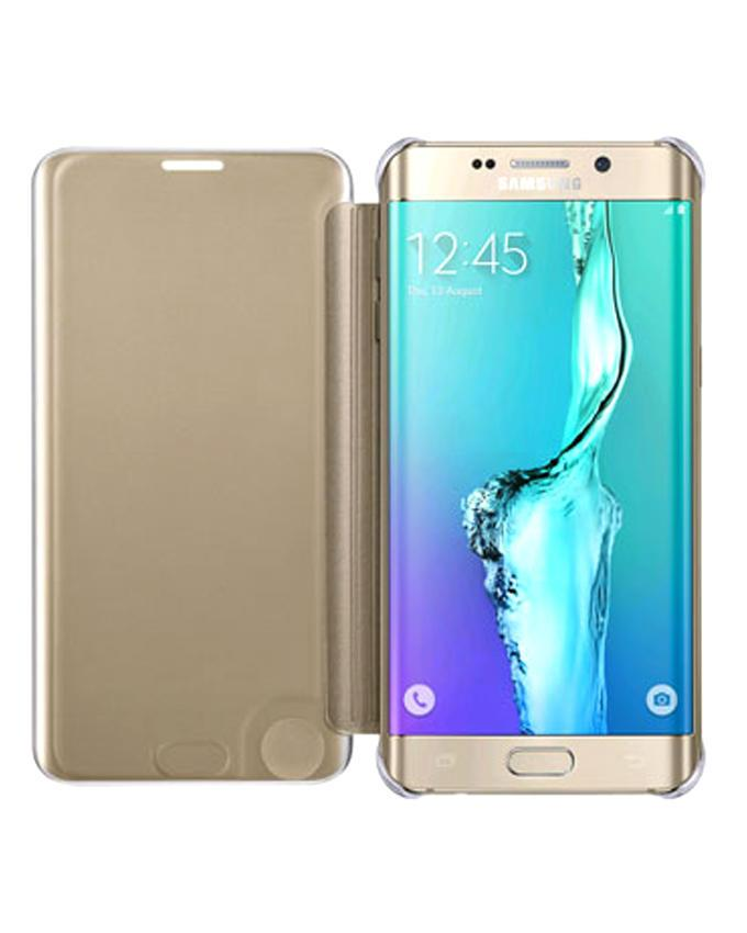 Clear View Cover Case for Samsung Galaxy S6 Edge plus - Gold