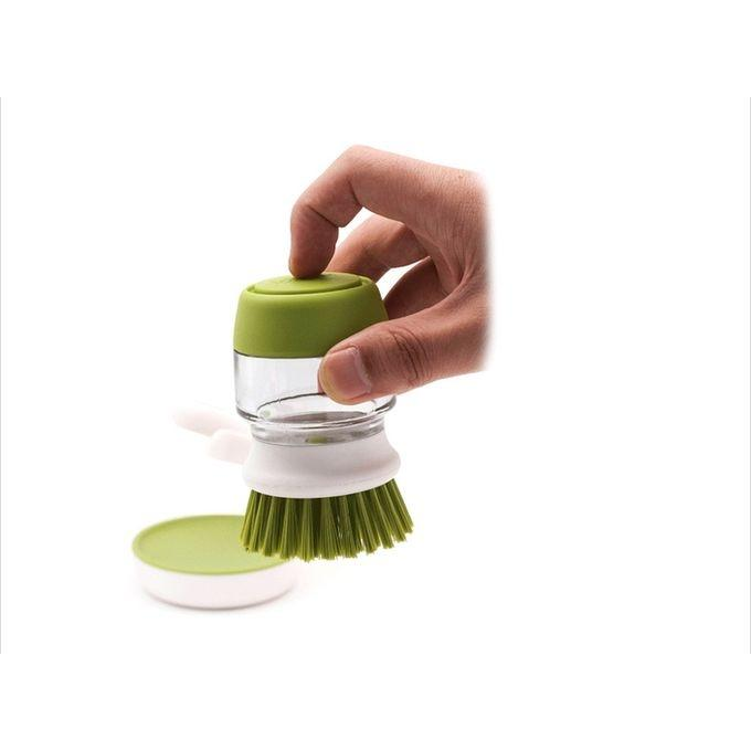 Jesopb - Dishwasher Soap Dispensing Palm Brush With Storage Stand