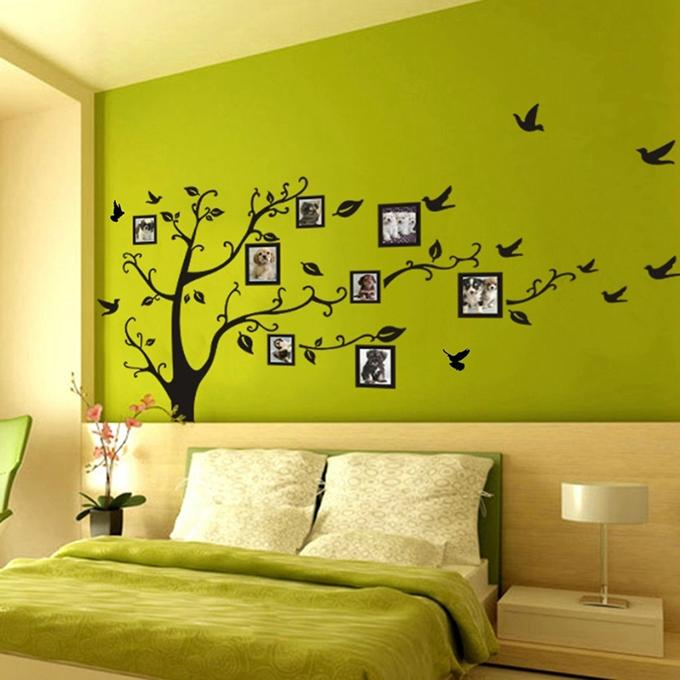 big size tree frame wall sticker - olive and black: buy online at