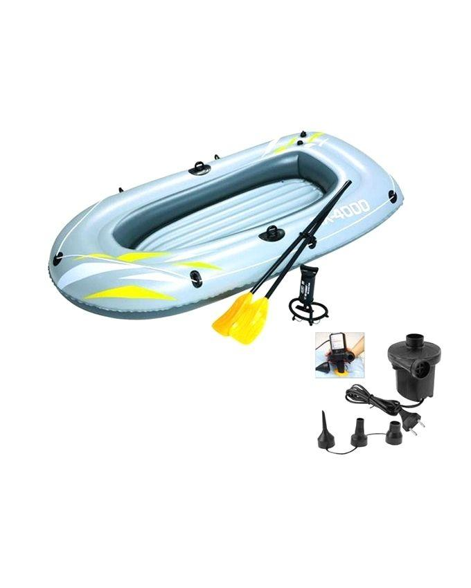 Hydro Force Inflatable Double Boat With Electric Pumper - Multi-Color
