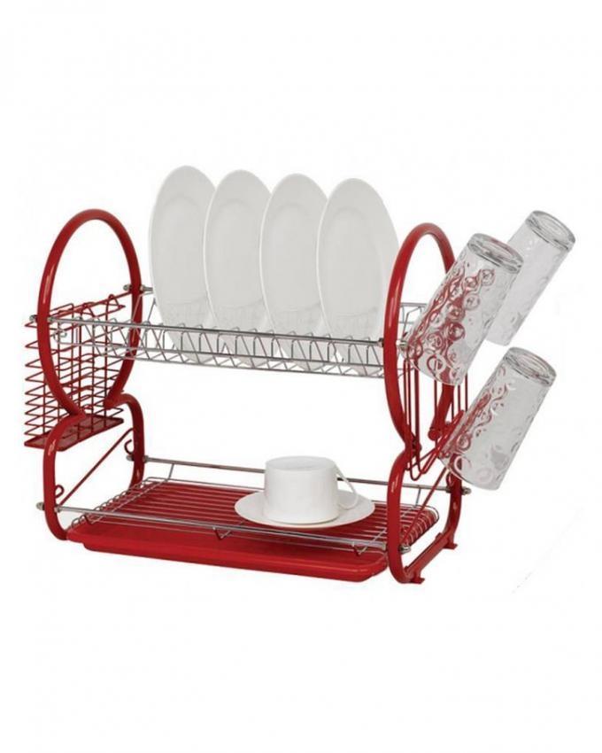 2-Layer Kitchen Dish Drainer - Red