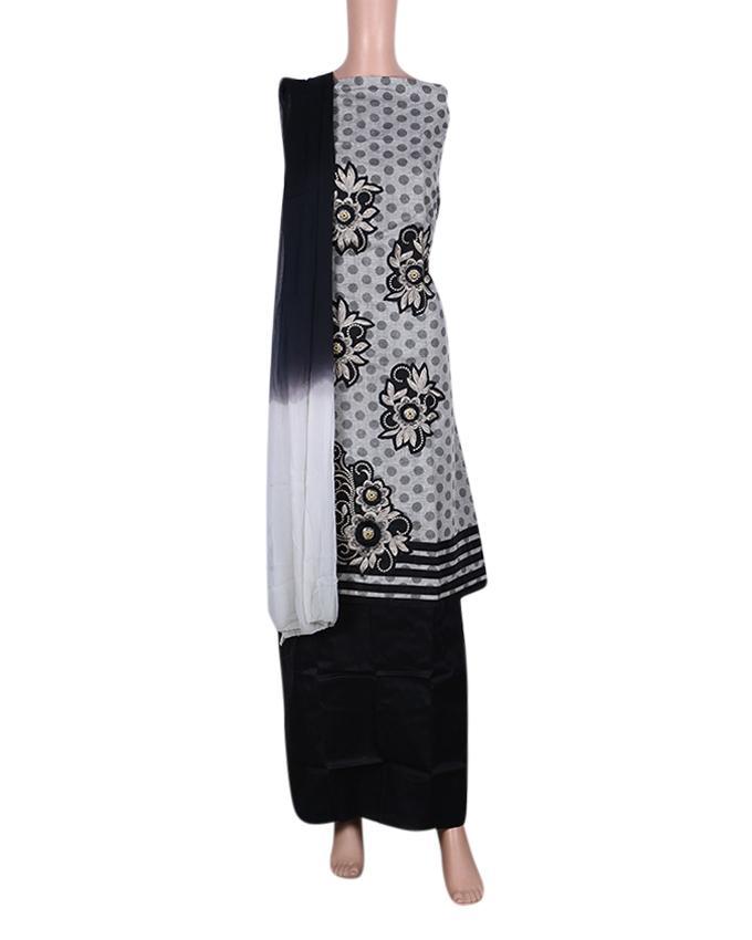 Unstitched Shalwar Kameez For Women - Black and Gray