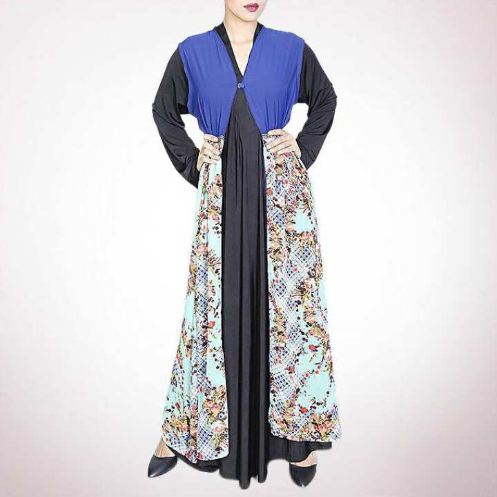 Korean Georgette Modest Outerwear Cape - Paste and Blue