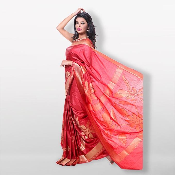 Red Chennai Katan Saree for Women