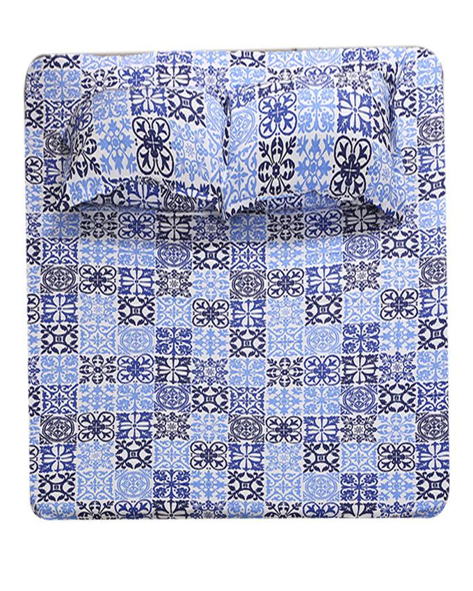 Cotton Printed Bed Sheet - Blue