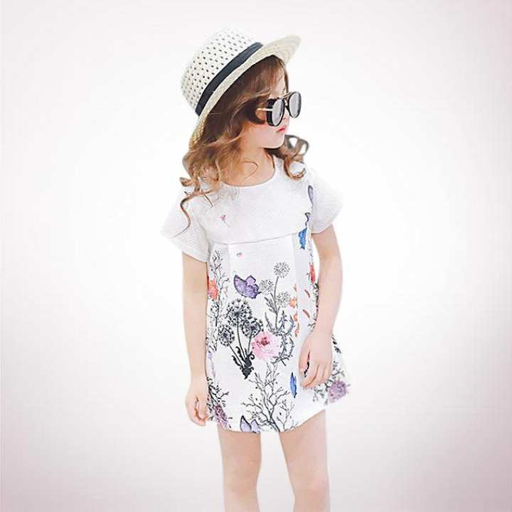White Georgette Party Frock For Girl
