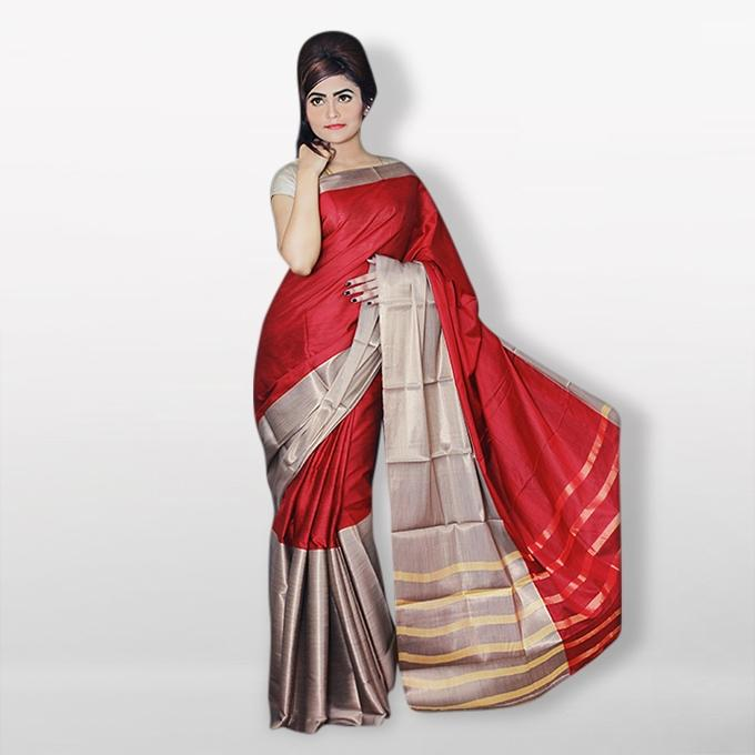 Red and Silver Silk Katan Sharee For Women