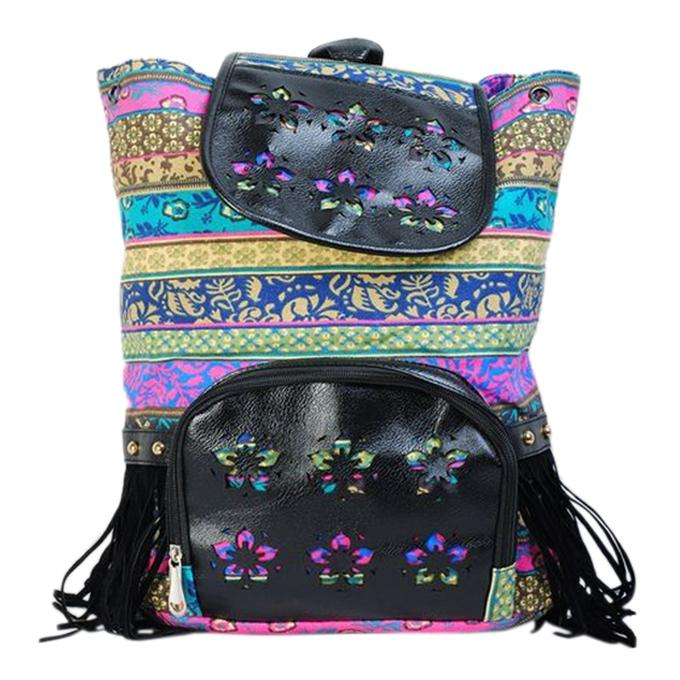 Multi Color Cotton Backpack For Women