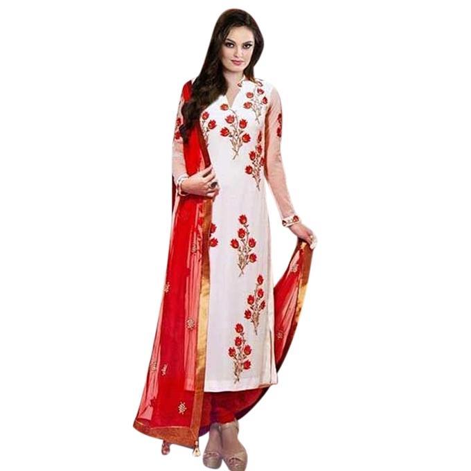 Off White Cotton Un-stitched Block Printed Shalwar Kameez For Women