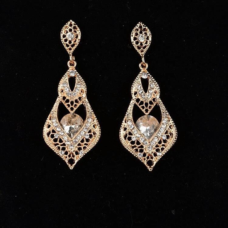 Gold Plated white Stone Earrings for Women