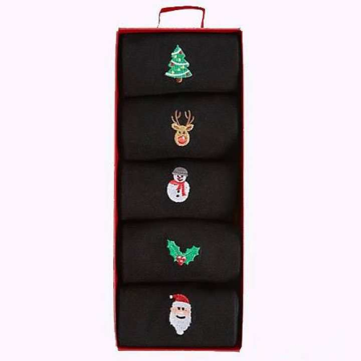 M&S Collection 5 Pairs Of Christmas Embroidered Socks