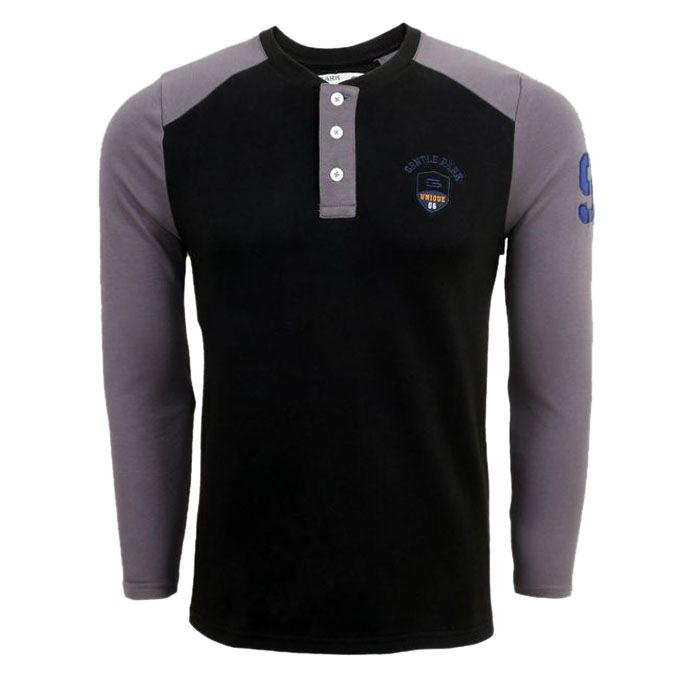 Black and Ash Long Sleeve T-Shirt for Men