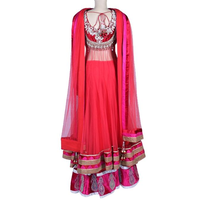 Georgette Casual Long Dress for Women - Red