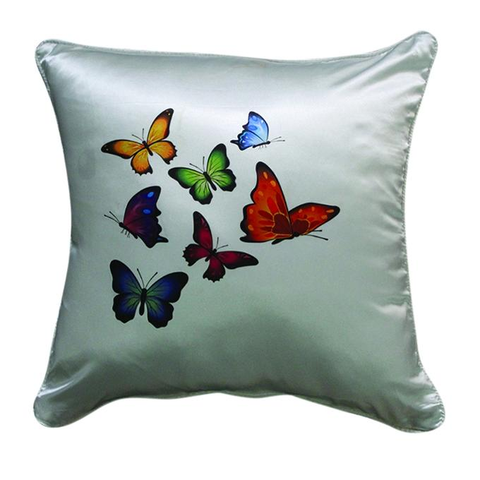 Group Butterfly Printed Cushion Cover - Gray