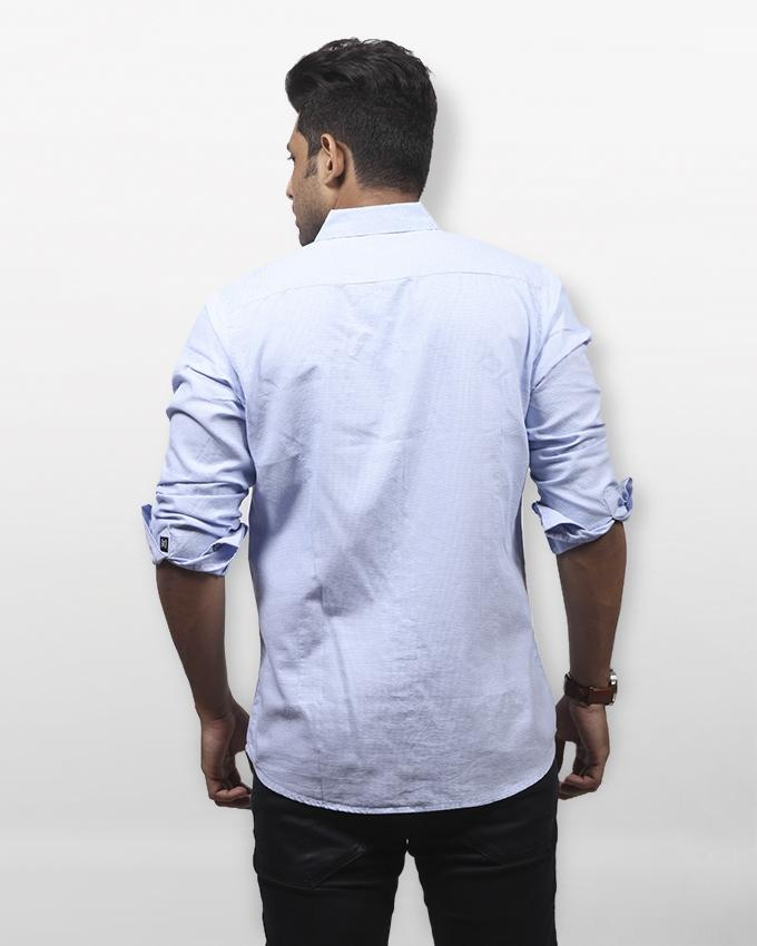 White And Blue Cotton Long Sleeve Tanjim Shirt For Men
