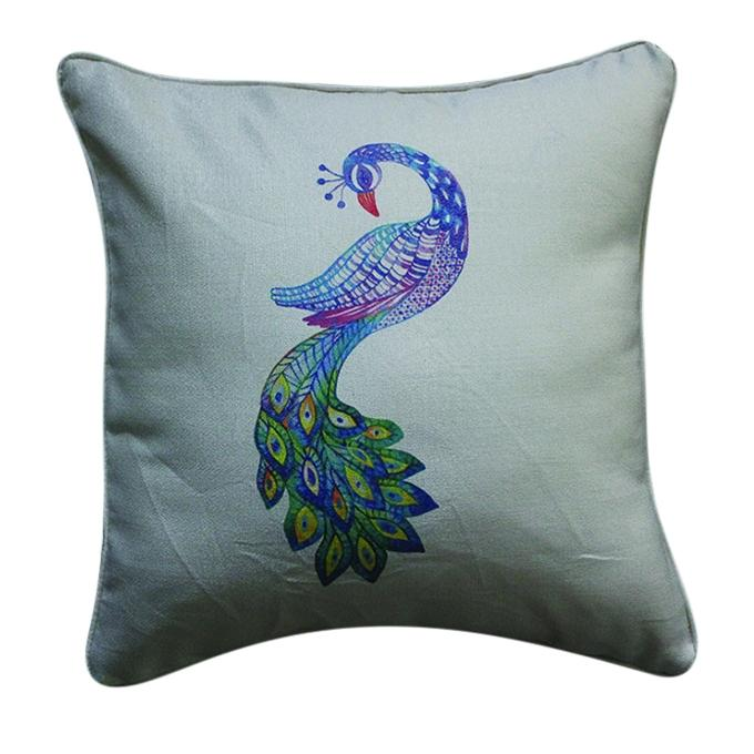 Pecock Printed Cushion Cover - Tan