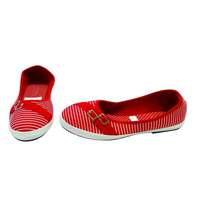 Thai Red Cotton Flat Running Sneakers for Women