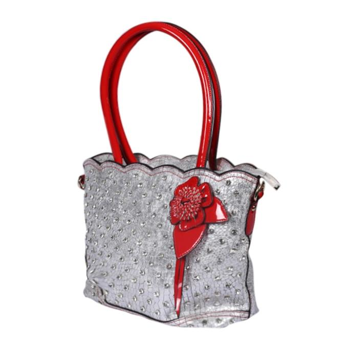 Red and Silver Artificial Leather Hand Bag For Women