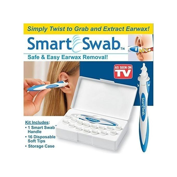 White Smart Swab Ear Care - White and Blue