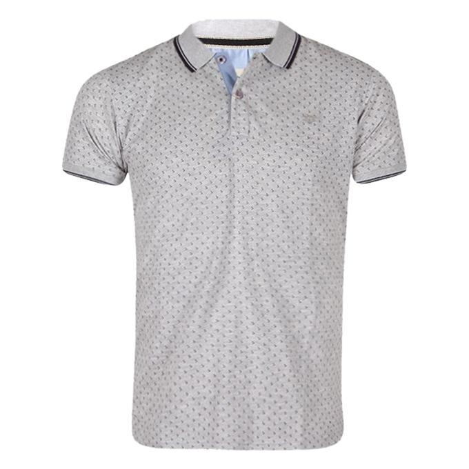 Light Gray Cotton Polo For Men