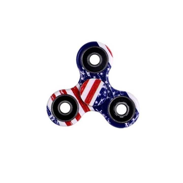 US Flag Printed Fidget Spinner Stress Reducer Toy - Multicolor