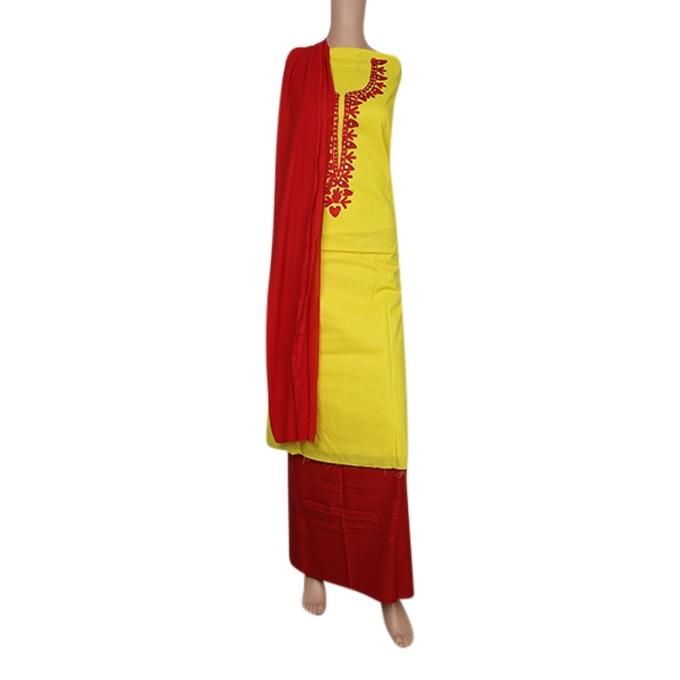 Yellow and Red Cotton Semistitched Salwar Kameez For Women