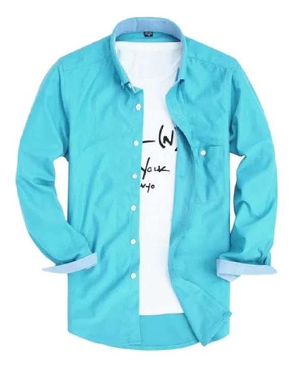 Sky Blue Cotton Casual Long Sleeve Shirt For Men