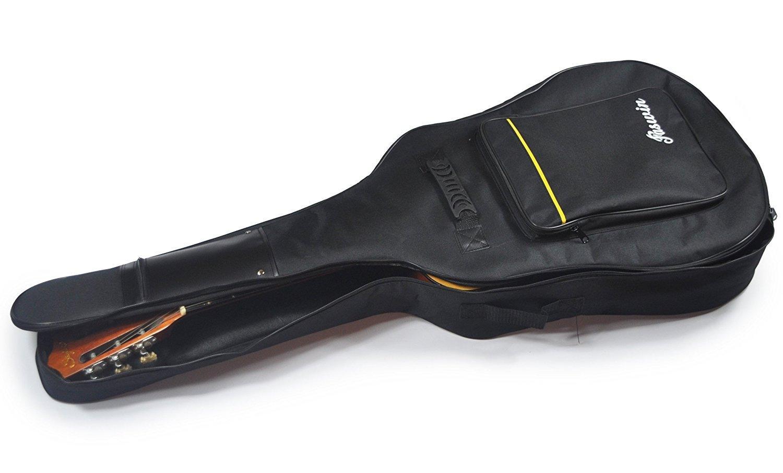"""41"""" Dual Adjustable Shoulder Strap Acoustic Guitar Gig Bag - Black"""