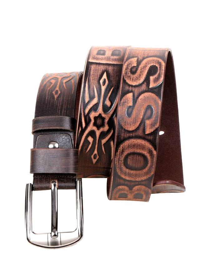 Brown Leather Casual Belt for Men