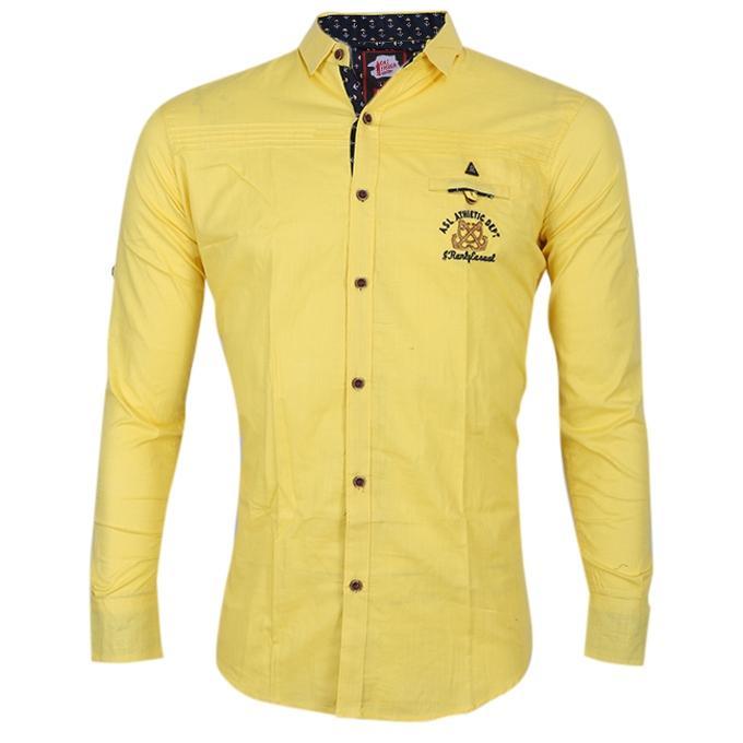 Yellow Cotton Shirt For Men