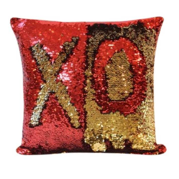 Sequin Mermaid Pillow Red & Golden