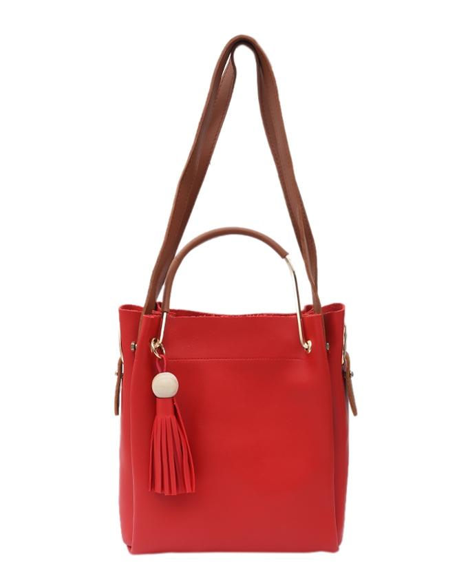 PU Leather Hand Bag For Women - Red