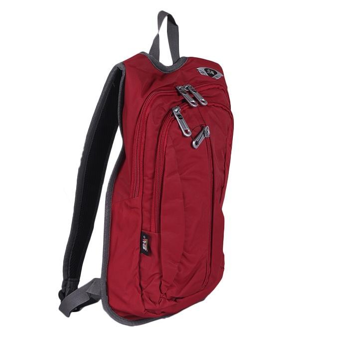 Dark Red Polyester Backpack For Men