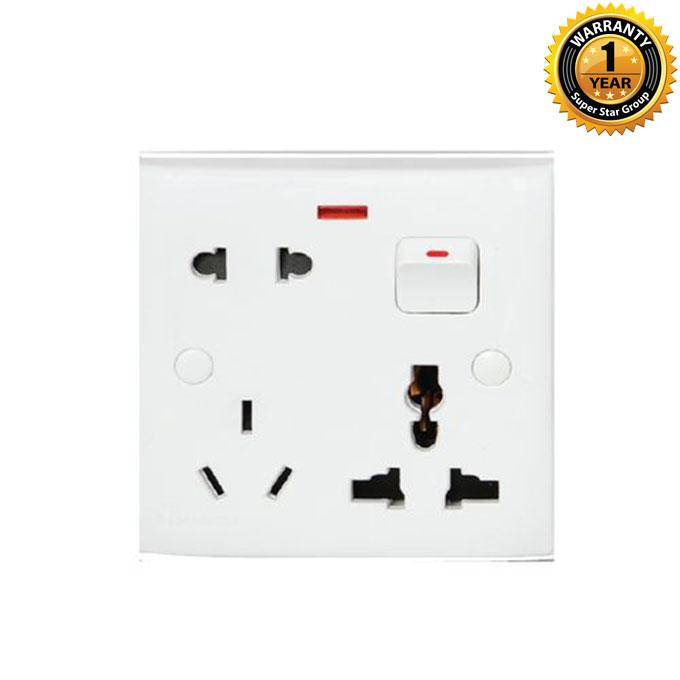 Lotus Series Lotus Combination Socket With Switch - White