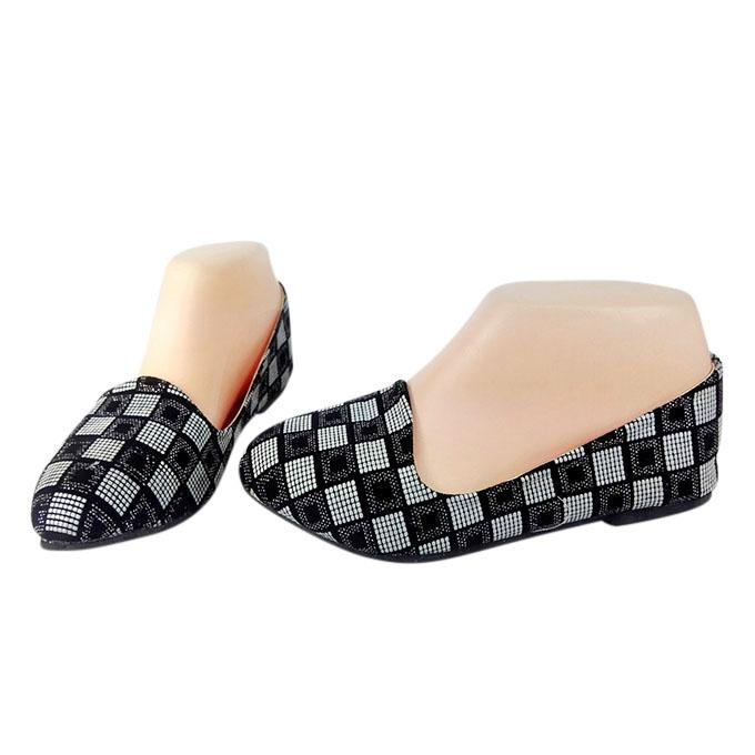 Thai Black and White Artificial Leather Ballerina For Women