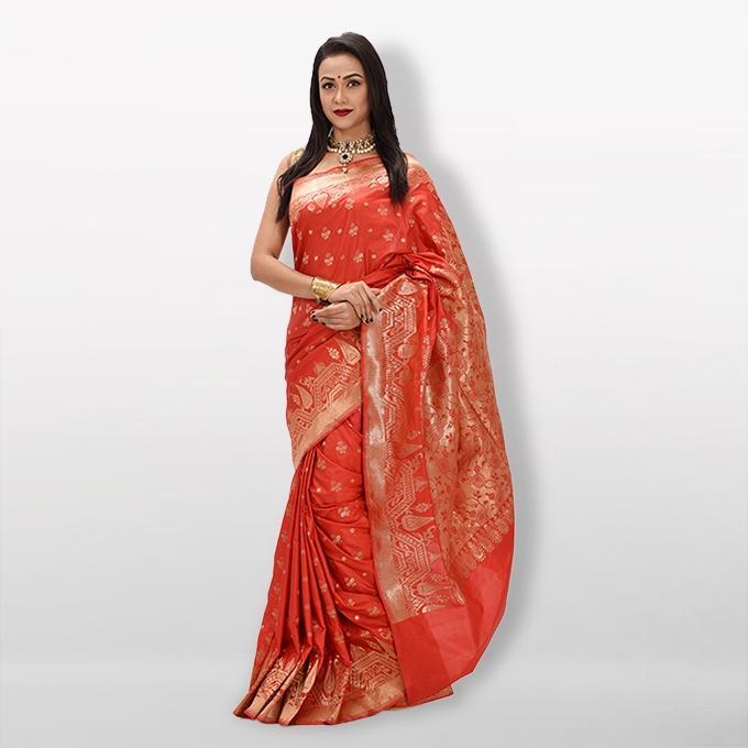 Deep Red -  Katan Silk & Jori Saree For Women