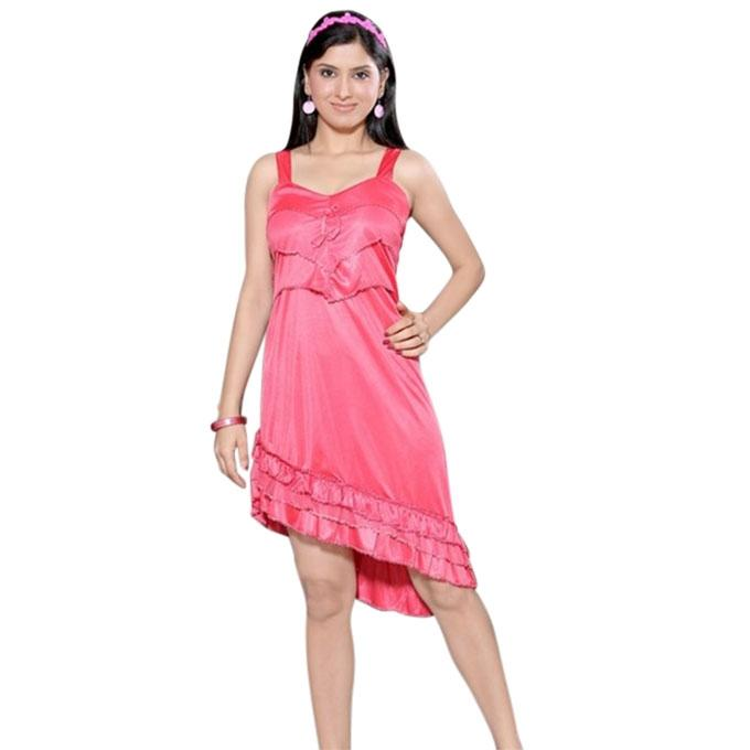 Hot Pink Sartin Indian Nightwear For Women