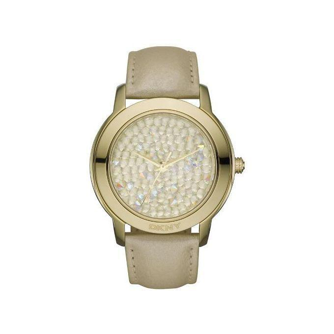 Leather NY8435 Crystal Pave Dial Analogue Watch For Women - Cream