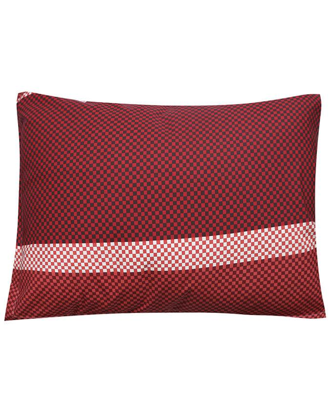 Cotton Printed Pillow Cover - Black and Red