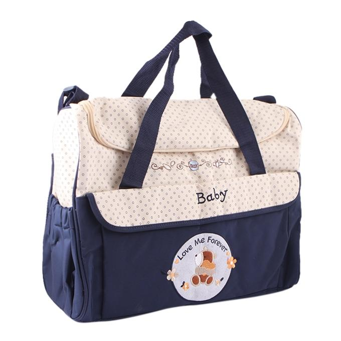 Cream and Navy Blue Polyester Hand Bag For Women