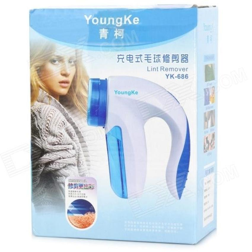 YoungKe YK686 Rechargeable Clothes Lint Remover - White and Blue