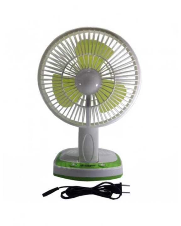 Portable LED Light With Mini Fan - White